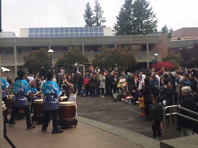 School of Taiko performance outside of C-Building.