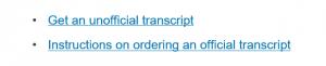 Unofficial transcript request